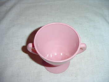 Pink Glass Pedestal Open Sugar Bowl