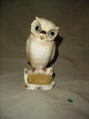 Porcelain Owl Pin Cushion & Scissor holder