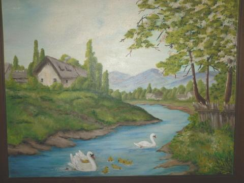 Vintage Swan Original Oil Painting