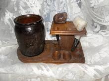 Vintage Wooden Pipe Stand w/Amber Glass Humidor