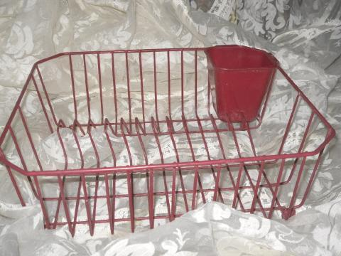 Vintage Red Metal Dish Drainer Rack