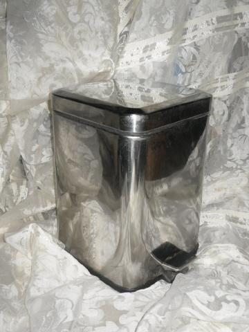 Vintage Stainless Steel Flip Top Waste Basket
