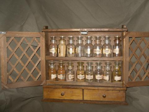 Vintage Wooden Spice Cabinet w/18 Spice Bottles