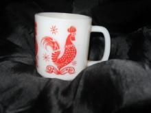 Vintage Red Rooster Fire King Coffee Mug