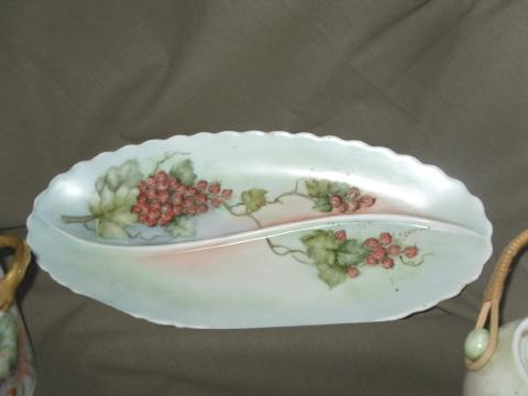 Vintage Hand Painted Bavarian Porcelain Dish & Sugar Bowl  **SEE BELOW**