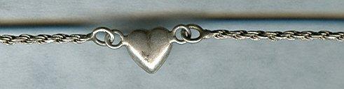 Sterling Rope Bracelet w/Silver Heart