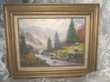 Original Mountain Stream Oil Painting **Framed