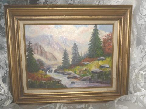 Original Mountain Stream Oil Painting **Framed