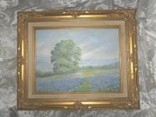 Vintage Original Blue Bonnets Oil Painting Signed & Framed
