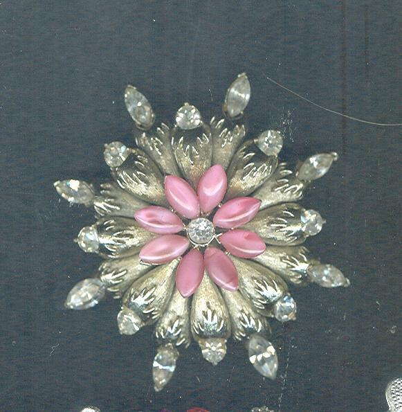Vintage Pink Marquis Flower Brooch