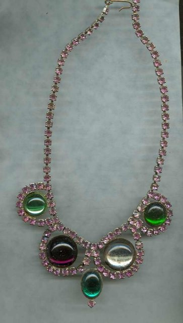 Vintage Pink Rhinestone Drop Necklace