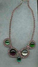 Vintage Pink Rhinestone Drop Necklace