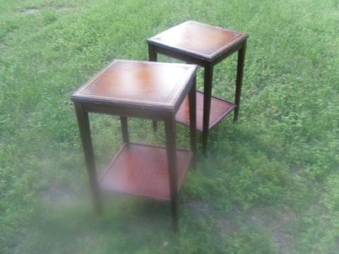 Vintage Leather Top Wooden Side Tables  *Pair**