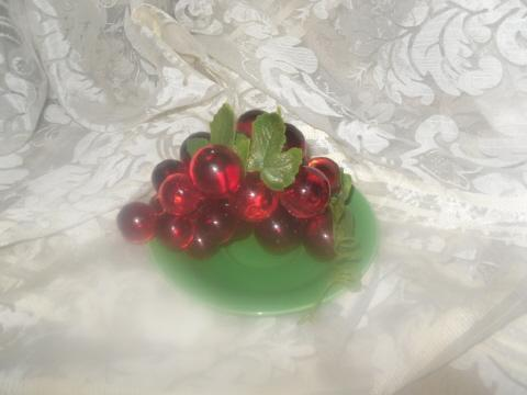 Vintage Set of Red Lucite Grapes  Smaller Size
