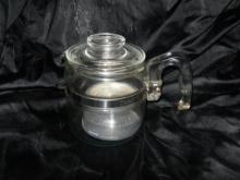 Vintage Pyrex Glass Coffee Percolator Pot  **w/Basket & Lid**