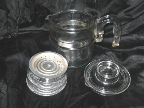 Vintage Pyrex Glass Coffee Percolator Pot  **w/Basket & Lid**