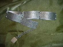 Vintage Stamped Silvertone Link  Belt