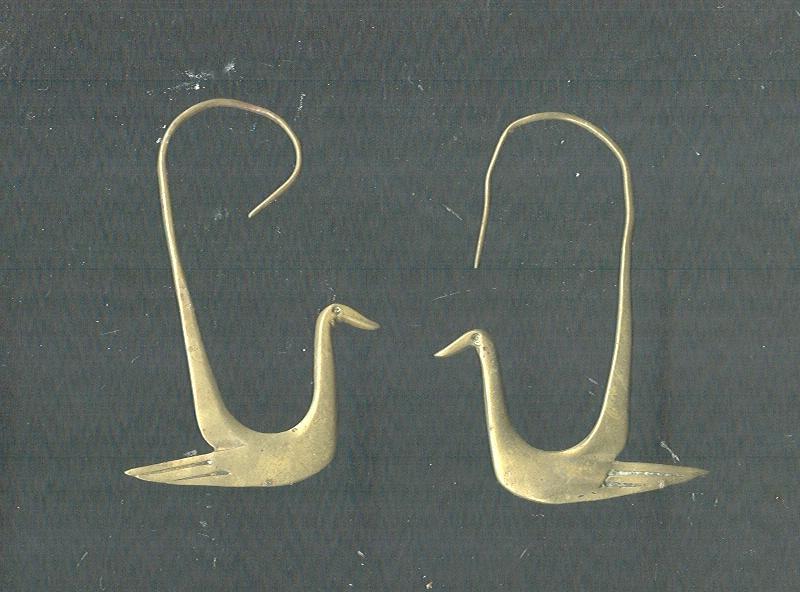 Antique Egyptian Revival Bird Earrings