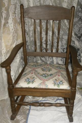 Antique Wooden Rocking Chair w/Upholstered Seat