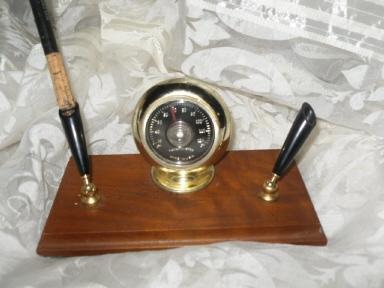 Vintage Desk Pen Holder w/Thermometer