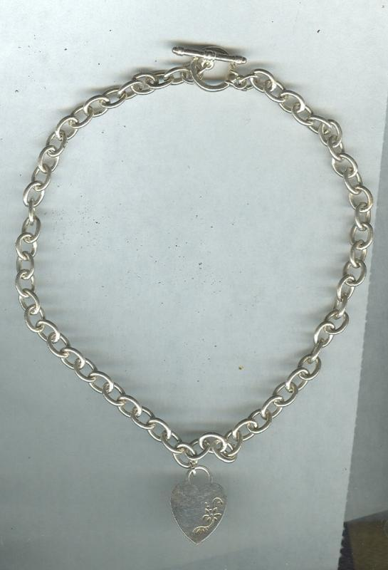 James Avery Style Classic Cable Necklace w/Toggle & Silver Heart Pendant