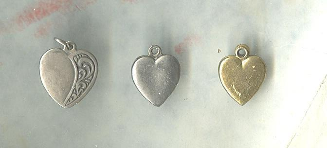 Sterling Silver Heart Charms or Pendants **3**