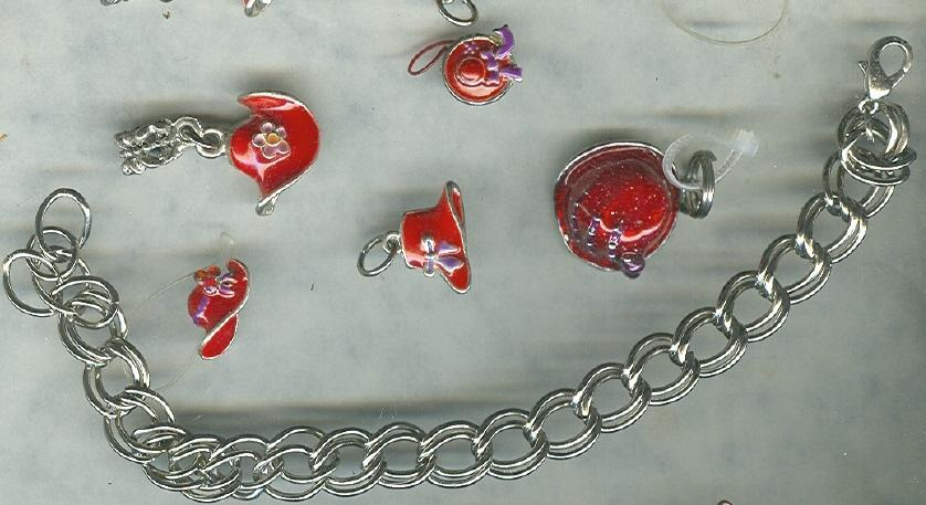 Silver Charm Bracelet w/Ladies Red Hat Society