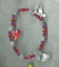 Silver Charm Bracelet w/ 5 Red Hat Charms  Ladies Red Hat Society