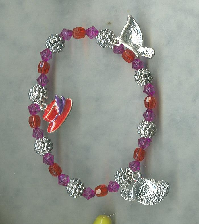 Ladies Red Hat Society Charm Bracelet