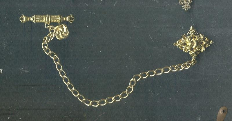 Vintage ART Chatelaine Bar Pin & Chain
