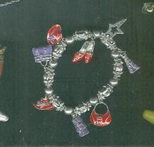 Silver Charm Bracelet w/8 Charms Red Hat, Shoes, Handbags