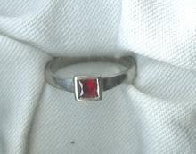 Sterling Silver Band Ring w/ Square Stone