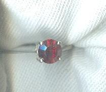 Sterling Silver Ring w/ Large Ruby Red Stone