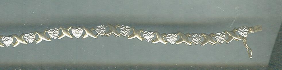Silver Marcasite Hearts & Gold
