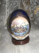 Decorative Porcelain Egg w/Wood Stand