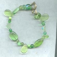 Green Art Glass Bead Bracelet