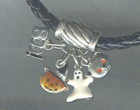 Black  Leather Bracelet with 4 Halloween Charms