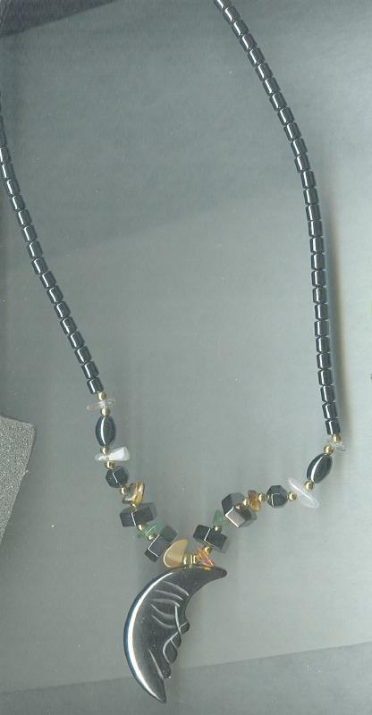 Crescent Moon Glass Pendant Bead Necklace