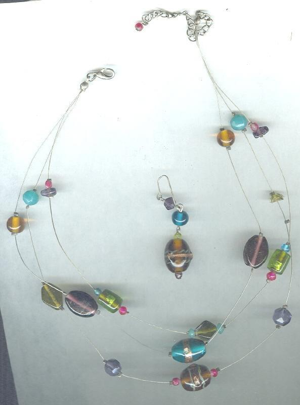Murano Glass Bead Necklace & Earrings