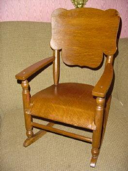 Antique Child's Oak Rocking Chair