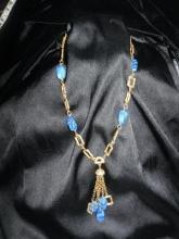 Blue Art Glass Bead Necklace  #Statement Necklace