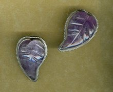 Vintage Hand Crafted Silver & Purple Agate  Earrings