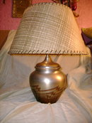 Metal Table Lamp w/Fiberglass Shade