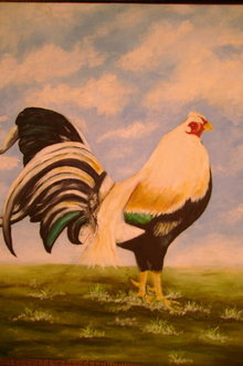 Rooster Game Cock Original Oil Painting
