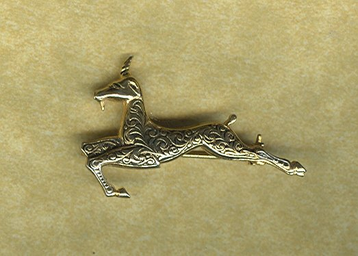 Vintage Damascene  Gazelle or Impala Pin