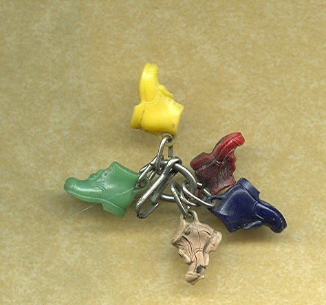 Vintage Celluloid Boot Charms (5)