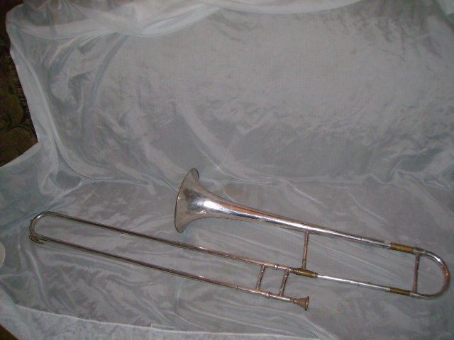 Antique Silverplated Trombone stamped Frank Holton  **See Description