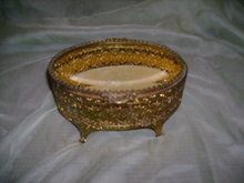 Vintage Ormolu Filigree Jewlery Box