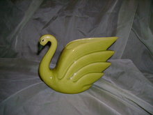 California Pottery Chartreuse Swan Planter