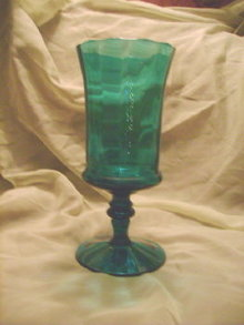 Large Teal Glass Pedestal Dish